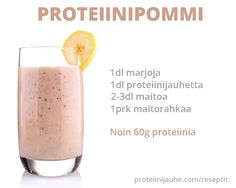proteiinipommi My Cookbook, Glass Of Milk, Smoothies, Baking, Drinks, Health, Food, Smoothie, Beverages