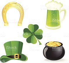 Набор иконок с символы для День святого Патрика Сток Вектор Стоковая фотография
