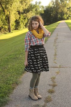 """I paired a favorite flannel shirt with my fox skirt for a little pattern mixing. Add the leggings and combat boots and it was a comfy, stylish outfit for running errands last weekend. What a pleasant surprise!"""