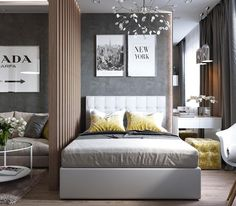 + 43 Whatever They Told You About Master Bedroom Design Layout Photo Galleries Is Dead Wrong 59 Condo Interior Design, Studio Apartment Design, Small Space Interior Design, Studio Apartment Decorating, Small Room Design, Apartment Layout, Modern Bedroom Design, Contemporary Bedroom, Apartment Living
