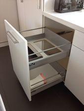Non-flimsy full height 24 wide recycling and trash cabinet IKEA Hackers Ikea Kitchen Cabinets, White Cabinets, Diy Kitchen, Kitchen And Bath, Kitchen Storage, Kitchen Decor, Ikea Kitchen Drawer Organization, Kitchen Ideas, Ikea Hacks