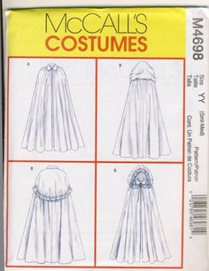 McCall's Costumes Sewing Pattern 4698 - Use to Make - Misses' Capes - Renaissance Style - Sizes Small and Medium McCall's,http://www.amazon.com/dp/B004PCMK84/ref=cm_sw_r_pi_dp_-mQJsb1FETY35JJ2
