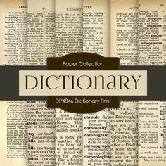 Dictionary Print Digital Paper DP4846