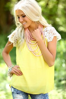 Every Day Detail Lace Top Mustard - Modern Vintage Boutique