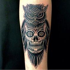 Image result for owl sugar skull tattoo
