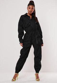black long sleeve utility pocket jumpsuit featuring button front with an elasticated waist. Jumpsuit Outfit, Black Jumpsuit, Cute Comfy Outfits, Cool Outfits, Estilo Hip Hop, Playsuit Romper, Black Girl Fashion, Sporty Look, Sweatshirt Dress