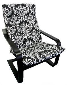 Slipcover for IKEA Poang Chair in Black & White Damask