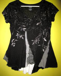 Black Burn out cotton Bead embellished up cycled funky TEE fits XS S by monapaints on Etsy