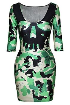 Pink Queen Womens Camouflage Camo Printed 34 Half Sleeve Bodycon Mini Dress *** You can find out more details at the link of the image.