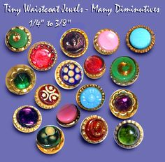 19th C. Diminutive Waistcoat Jewel Buttons ~ R C Larner Buttons at eBay  http://stores.ebay.com/RC-LARNER-BUTTONS