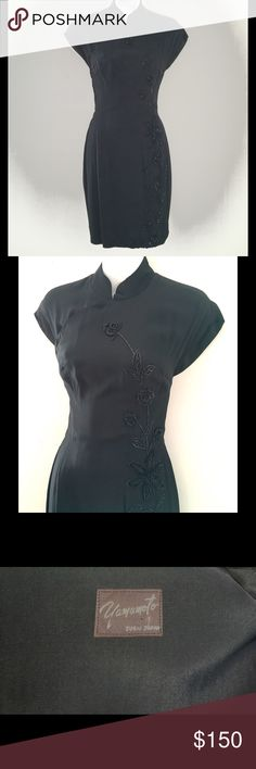 BEAUTIFUL BLACK YAMAMOTO BUGEL BEADED DRESS SZ 2 There is a history to this elegant dress. I once lived with Maria Callas's cousin, in Tarpon Springs FL. She was one of the most striking women I've ever known. She travelled the world and had pictures of presidents, kings, and queens framed around her historic 26 room mansion. Many of her clothes were handmade and truly magnificent! She shared some of them with me ...swoon. This treasure is one of them. It doesn't fit me anymore.  I'm…