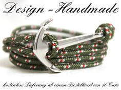 Armbänder - Anker Surfer Armband maritim Seil Oliv Grün - ein Designerstück von Design-Handmade bei DaWanda
