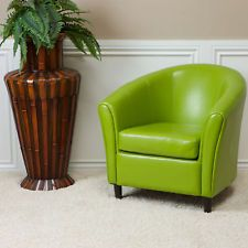 Set of 2 Contemporary Tub / Barrel Design Lime Green Leather Club Chair