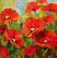 """Nodding Off Poppies by Texas Flower Artist Nancy Medina"" - Original Fine Art for Sale - © Nancy Medina"
