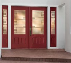 """Mondrian"" entry door system with matching side lites. Stunning glass offering by Masonite. www.masonite.com"