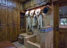 Mudroom Design Ideas, Pictures, Remodel, and Decor - page 25 - no dog wash Dog Washing Station, Rustic Entry, Gun Rooms, Dog Shower, Timber House, Laundry Room Design, Laundry Rooms, Laundry Sinks, Western Decor