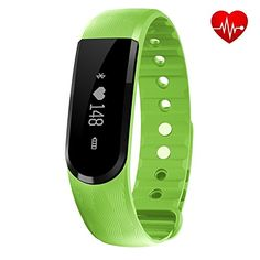 Fitness Tracker  Heart Rate Monitor ID101 Bracelet Pedometer Music Control Watches Wristband for Android IOS Phones Green -- To view further for this item, visit the image link.