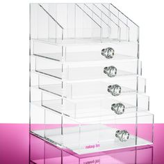 The Ultimate Beauty Organiser with clear Crystal handles