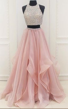 Round Neck Two Pieces Pink Prom Dresses, Two Pieces Pink Formal Dresses, Evening Dresses Prom Dresses Long Pink, Pretty Prom Dresses, Unique Prom Dresses, Prom Dresses 2018, Quinceanera Dresses, Sexy Dresses, Pink Dresses, Elegant Dresses, Custom Dresses