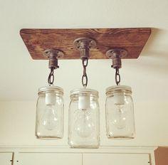 Rustic/Industrial/Modern Handmade 3 Mason Jars Wood by Lulight