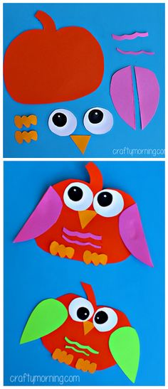 Pumpkin Owl Craft #Halloween craft for kids to make! #Fall art project…