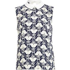Blue petal print contrast collar shell top - River Island price: £30.00