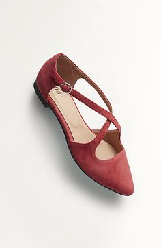 cross-strap suede flats - like the cross over strap. The color is meant to be deep scarlet, although it looks more of a muted pink/red on my screen... Hopefully it is brighter and not so muted?