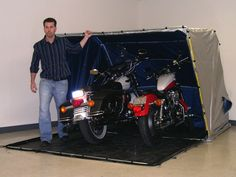 Double Motorcycle Portable Storage Shed System