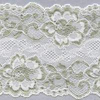 "4 7/8"" White and Gray  Stretch Lace"