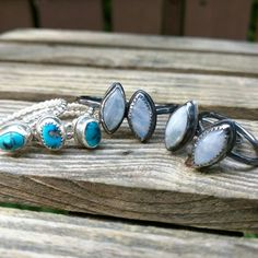 Moonstone looks better in dark silver  Available now made to order. As well as these one of a kind natural Sleeping Beauty turquoise beauties