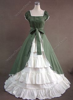 Victorian Costume Dress- Civil War, Ball Gown, Dickens Fair Dresses - Visit to grab an amazing super hero shirt now on sale! Old Fashion Dresses, Old Dresses, Pretty Dresses, Vintage Dresses, Vintage Outfits, 1800s Dresses, Evening Dresses, Afternoon Dresses, Sleeve Dresses