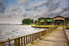 Fishing wharf stretched out over the waters of Toledo Bend Lake