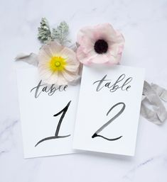 Beautiful brush calligraphy table number sets for weddings or special events. Calligraphy Name, Calligraphy Envelope, Name Cards, Thank You Cards, Wedding Favors, Wedding Day, Number Sets, Tent Cards, Addressing Envelopes