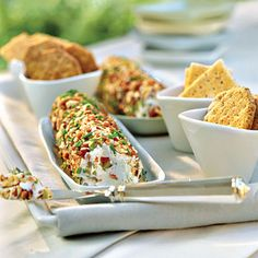 Cream Cheese-Olive Spread    Olives lend bold flavor to this creamy spread. You can make cream cheese mixture up to 2 days ahead, and then roll them in pecans and and chives just before serving.