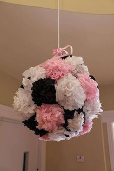 Paper flower decorations at a girl Birthday Party!  See more party ideas at CatchMyParty.com!