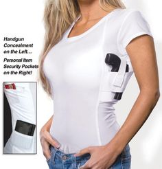 The Executive features a concealed carry holster for your handgun and a zippered security pocket for your cash, credit cards, passport, mobile device, etc. Women Concealed Carry Clothing, Concealed Carry Shirt, Concealed Carry Holsters, Damsel In Defense, Sporty Outfits, Cool Outfits, Executive Woman, Shops, Tactical Clothing