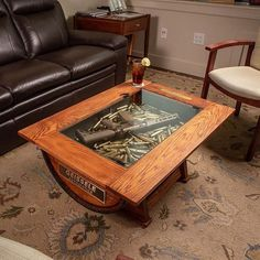 Whiskey Barrel Coffee Table with Bottle storage image 0 Whiskey Barrel Coffee Table, Diy Coffee Table, Diy Table, Wood Table, Whiskey Barrels, Barrel Furniture, Diy Pallet Furniture, Unique Furniture, Furniture Ideas