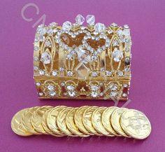 39.99$  Buy now - http://virrp.justgood.pw/vig/item.php?t=8xs1uv50797 - Gold Treasure Chest Wedding Arras Box & Unity Coins Arras de boda