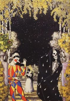 Harlequin and Death - Konstantin Somov 1907