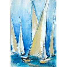 White Sailboats on a Blue Sky  Print of Watercolor