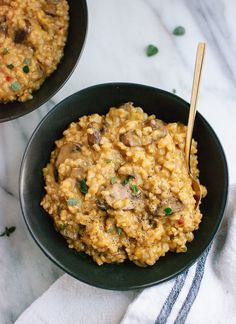 Brown rice mushroom risotto