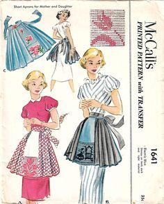 McCall's 1641 Vintage Sewing Pattern Misses Half Apron, Hostess Apron, Swedish Weaving Apron, Huck Apron, Pleated Apron One Size Vintage Apron Pattern, Retro Apron, Aprons Vintage, Vintage Sewing Patterns, Knitting Patterns, Toddler Tent, Sewing Machine Tension, Mccalls Patterns, Apron Patterns