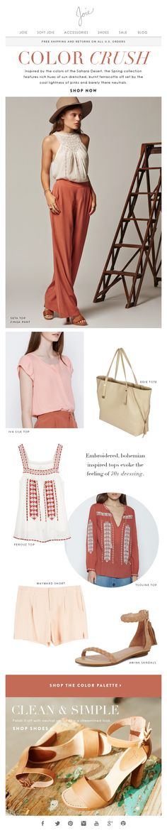 Joie colour theme email newsletter