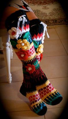 Long wool women ladies anelmaiset socks, Anelmaiset socks, warm winter knitted over the knee socks, striped, colorful knee length / high socks Crochet Leg Warmers, Crochet Socks, Knitting Socks, Hand Knitting, Crochet Skull Patterns, Knit Stockings, Knit Boots, Wool Socks, Knee Socks
