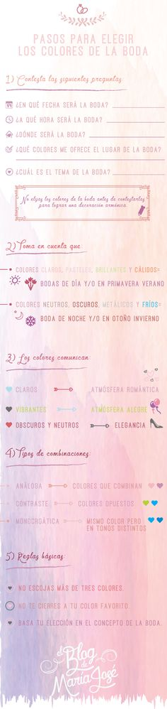 En esta #infografía te presento los pasos para elegir los colores de la boda y lograr una decoración armónica #bodas #elblogdemaríajosé #coloresboda #weddings