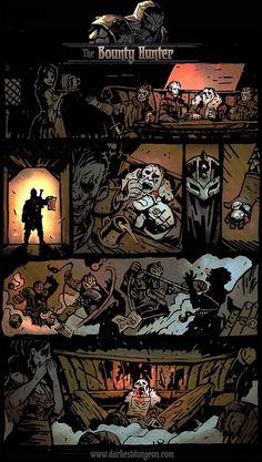 The latest Darkest Dungeon backstory comic, The Bounty Hunter! Worked on with Chris Bourassa, the art director :)