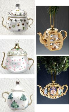 Teapot Christmas Ornaments: Jeweled Hearts, Pink Roses, Green Christmas Trees, Clear & Colored Crystal / http://roses-and-teacups.com
