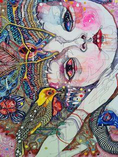detail - come of things, Del Kathryn Barton Art Gallery NSW. Contemporary Abstract Art, Contemporary Artists, Modern Art, Australian Artists, Art And Illustration, Hanging Art, Art Auction, Face Art, Medium Art