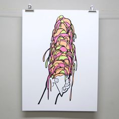 """Meltypop Screenprint by Brainstorm! 18"""" x 24"""", 4 colors, signed and numbered edition of 100"""