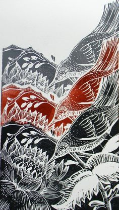 Birds linocut print